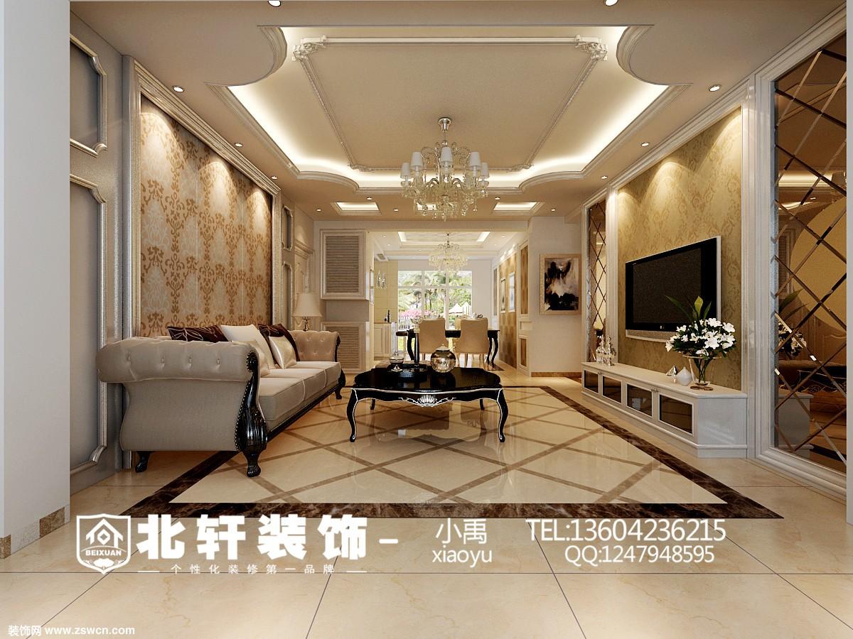 盘锦辽河左岸135平欧式风格装修案例