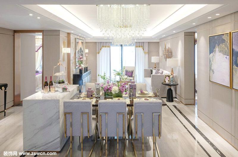 【餐厅装修效果图】室内装修 餐桌与岛台的结合,这是现代装修