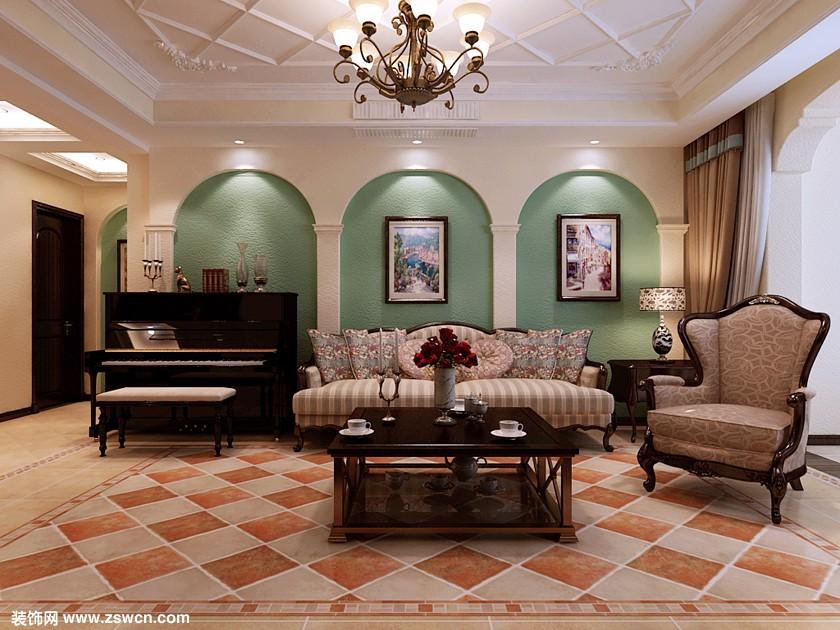 沙发背景墙效果-军医学院150平米装修效果-意式托斯卡纳风格三居室