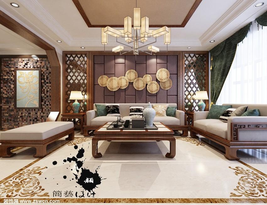 沙发背景墙效果-新中式风格别墅装修效果-星河御城216平米装修效果