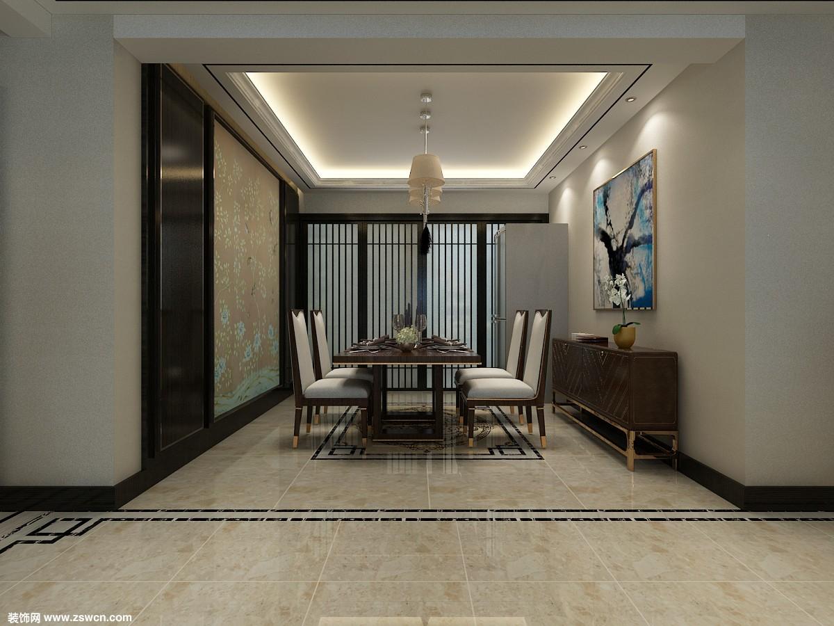餐廳效果-新中式風格三居室-眾美綠都146平米裝修效果-石家莊實創