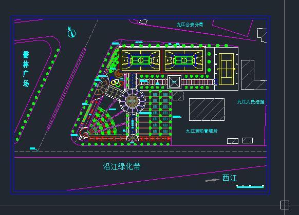 素材下载 cad案例施工图 园林景观施工图 > 九江健身广场健身cad平面