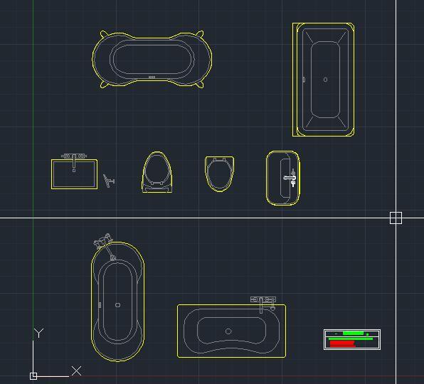 浴室洁具cad平面图 浴盆座侧洗手盆cad平面图画法 洁具CAD平面图块图库下载