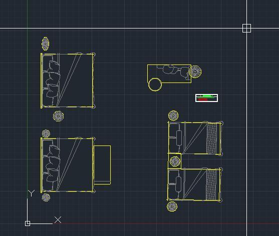 床cad平面图 标准间双人房床cad平面图画法 家具cad平面图块图库素材